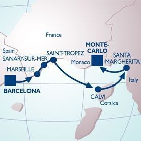 7 NIGHT PROVENCE & RIVIERAS VOYAGE - Itinerary Map