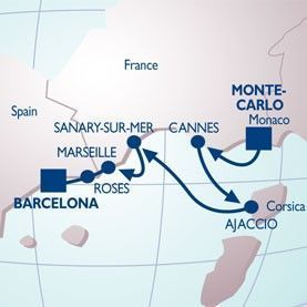 7 NIGHT CORSICA & PROVENCE VOYAGE - Itinerary Map