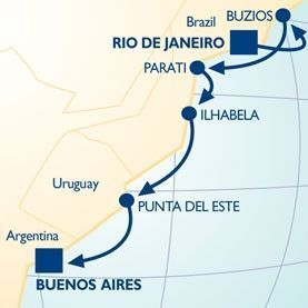 9 NIGHT BEST OF BRAZIL VOYAGE - Itinerary Map