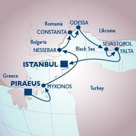 9 Night Mykonos To The Black Sea Voyage - Itinerary Map
