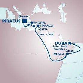14 Nt Greek Isles, Cyprus & Suez Voyage - Itinerary Map