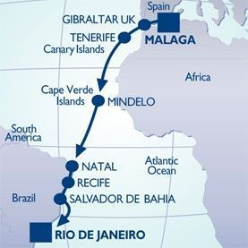 16 NIGHT COSTA TO COPACABANA VOYAGE - Itinerary Map