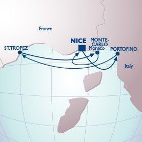 4 Night Monaco Grand Prix Voyage - Itinerary Map