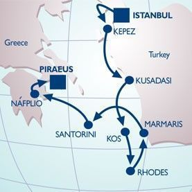 9 NIGHT HISTORY OF THE AEGEAN VOYAGE - Itinerary Map