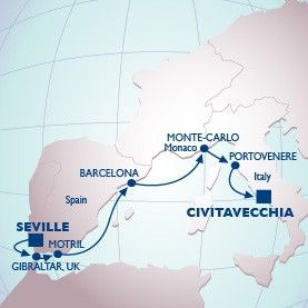10 Night Alcazar To The Vatican Voyage - Itinerary Map
