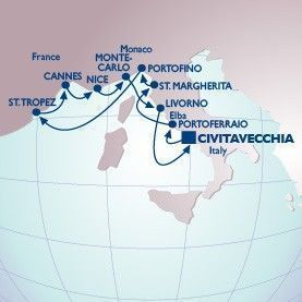 10 Night Shopping In The Med Voyage - Itinerary Map