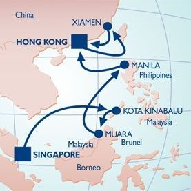 14 NIGHT NEW YEARS IN HONG KONG VOYAGE - Itinerary Map