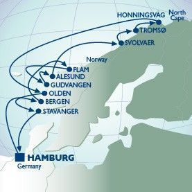14 Nt Norwegian Fjords & N Cape Voyage - Itinerary Map