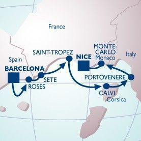 7 NIGHT COSTA BRAVA-CINQUE TERRE VOYAGE - Itinerary Map