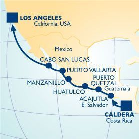 12 NIGHT COSTA RICA TO BAJA VOYAGE - Itinerary Map