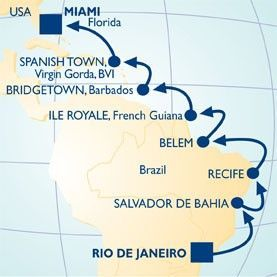 18 NIGHT COPACABANA-BISCAYNE BAY VOYAGE - Itinerary Map