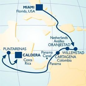 11 NIGHT PANAMA CANAL NEW YEAR'S VOYAGE - Itinerary Map
