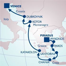 10 NIGHT GREEK ISLES & ADRIATIC VOYAGE - Itinerary Map
