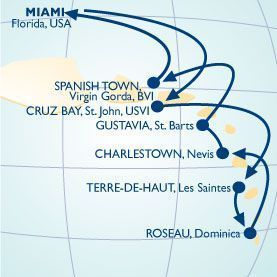 11 NIGHT WEST INDIES HIDEAWAY VOYAGE - Itinerary Map