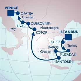 11 NIGHT GREEK ISLES & ADRIATIC VOYAGE - Itinerary Map