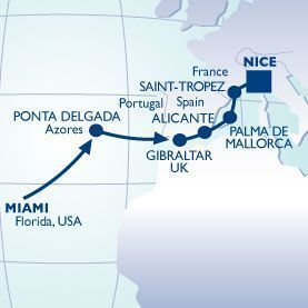 15N S BEACH - SOUTH OF FRANCE VOYAGE - Itinerary Map