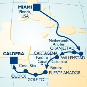 12 NIGHT NATIONAL PARKS OF PANAMA VOYAGE - Itinerary Map