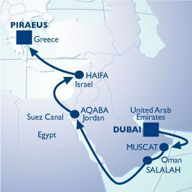 16 NIGHT EMIRATES TO PETRA VOYAGE - Itinerary Map