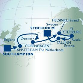 12 NIGHT LONDON TO BALTIC VOYAGE - Itinerary Map