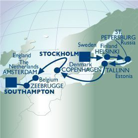 12 NIGHT SUMMER BALTIC RUSSIA VOYAGE - Itinerary Map