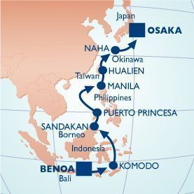 16 NIGHT INDONESIA TO JAPAN VOYAGE - Itinerary Map