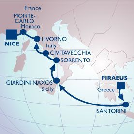8 NIGHT GREEK ISLES COTE D'AZUR VOYAGE - Itinerary Map