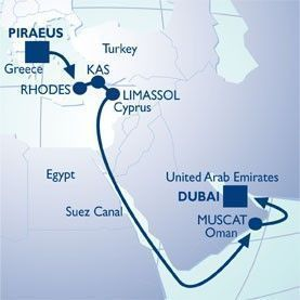 15 NIGHT SUEZ CANAL VOYAGE - Itinerary Map