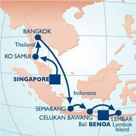 14 NIGHT THAILAND & INDONESIA VOYAGE - Itinerary Map