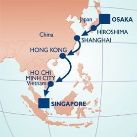 16 NIGHT JAPAN, CHINA & VIETNAM VOYAGE - Itinerary Map