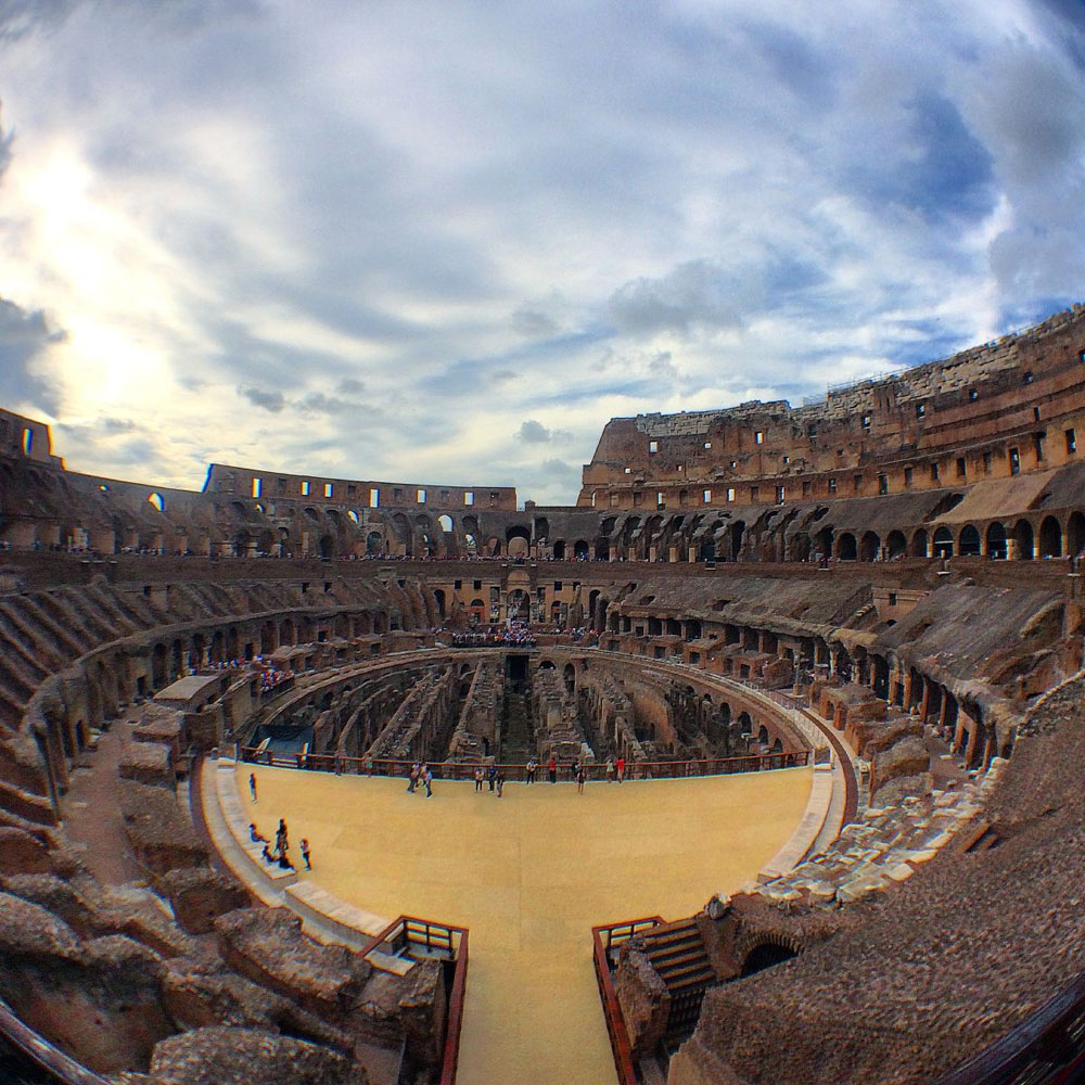 A fish-eye view of the Colosseum
