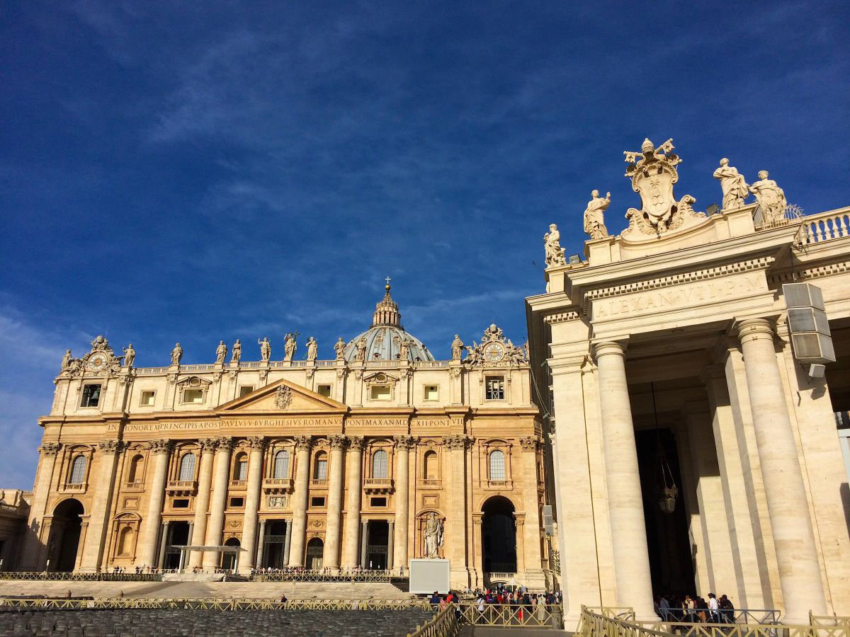Outside St. Peter's Basilica in Rome