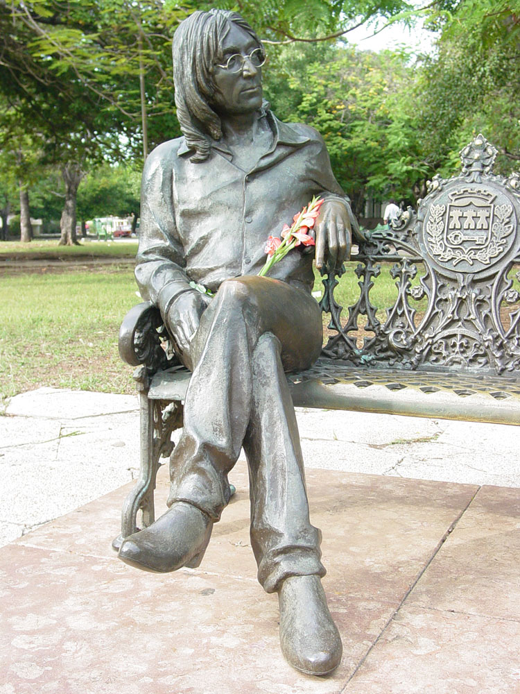 A bronze statue of John Lennon in Havanna Cuba