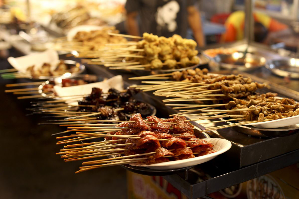 Malaysian Satay, meat kebabs cooked over charcoal