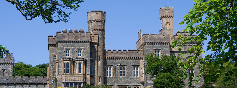 An exterior view of Lews Castle in Stornoway, Scotland