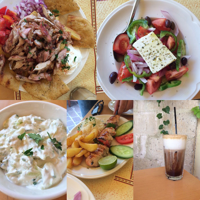 Crete food - ttzatziki, Greek salad, souvlaki and gyro