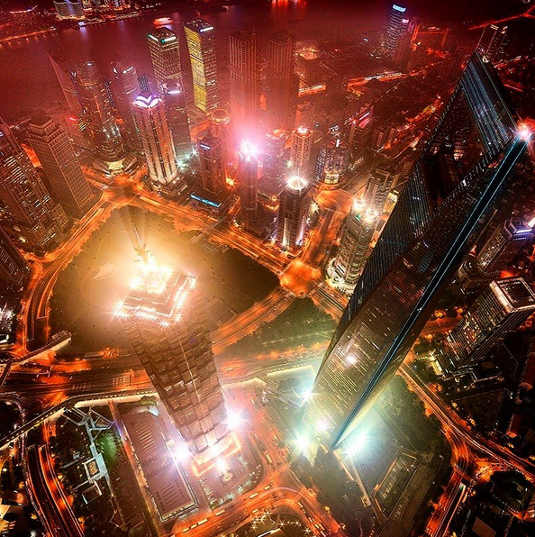 Shanghai, China at night.