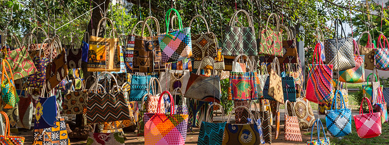 Colorful bags and purses on display at Maputo Central Market, Mozambique
