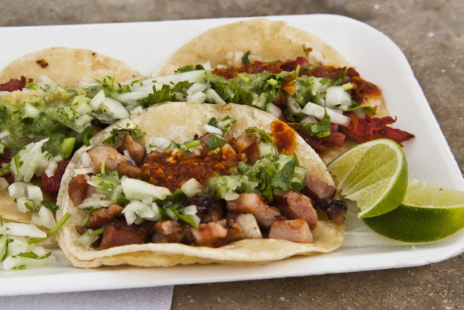 Tacos are a popular Mexican street food.