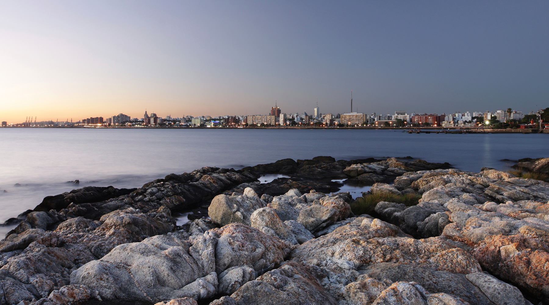 The skyline of Montevideo, Uruguay, at sunset.
