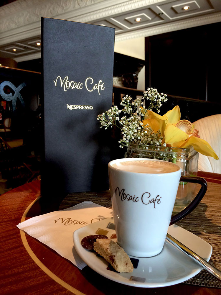 Guests love visiting the Mosaic Cafe onboard Aazmara ships for a morning coffee!