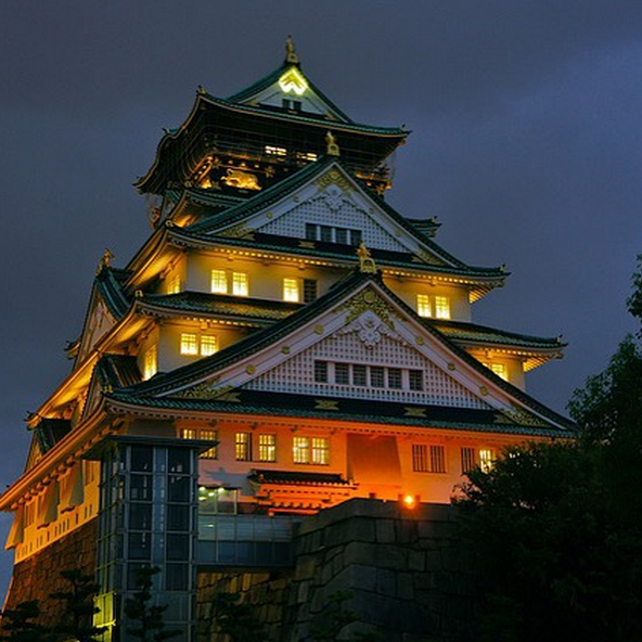 Osaka Castle at night.