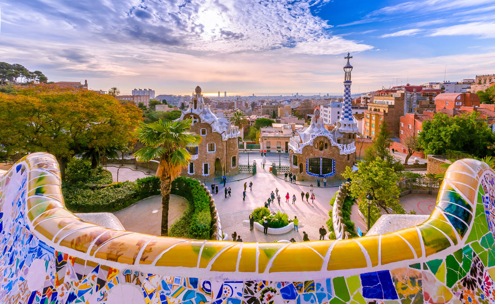 Don't miss Parc Güell—this incredible garden complex is home to Gaudi's own residence, a plaza, and mosaic trendadis.