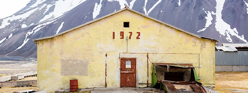 A building in Pyramiden, a Russian settlement in Svalbard, Norway