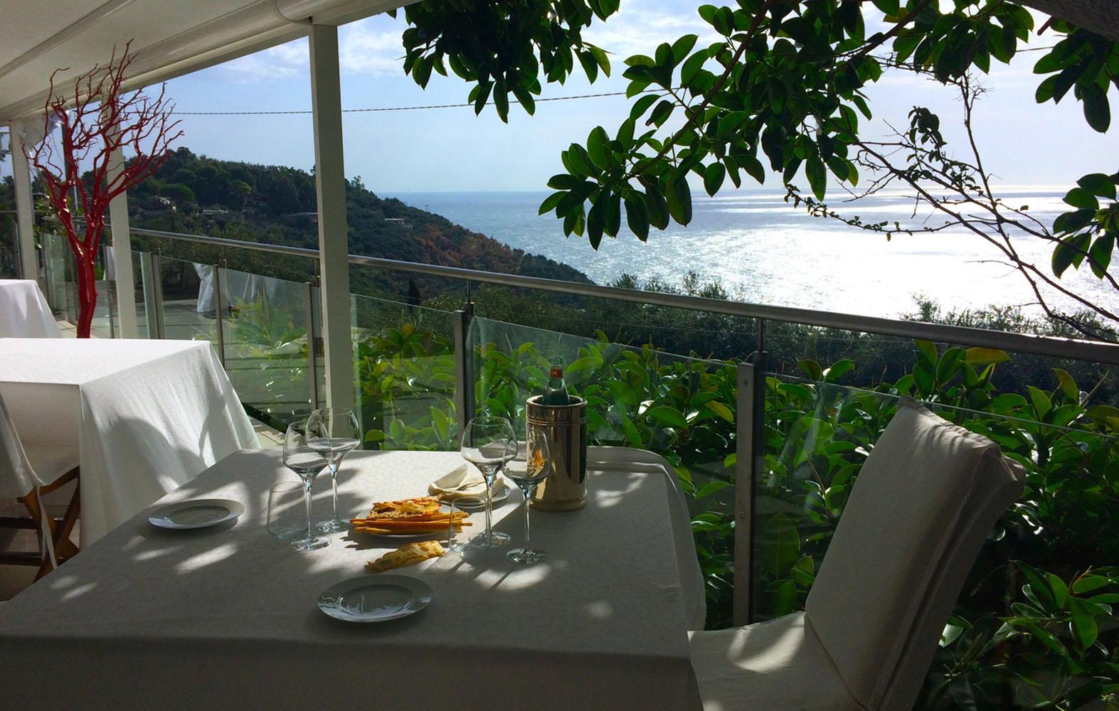 A view of the Mediterranean from the restaurant Quattro Passi in Sorrento, Italy.