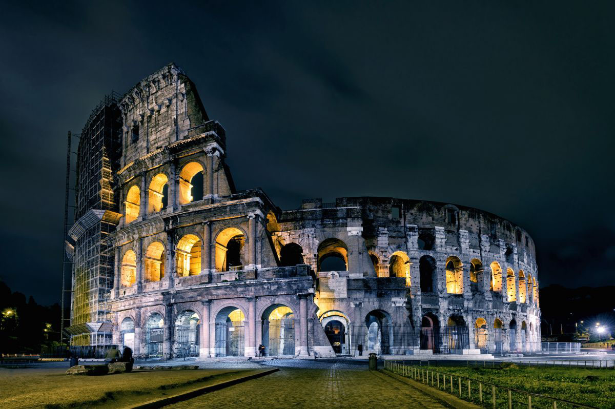 The Colosseum lit up at night