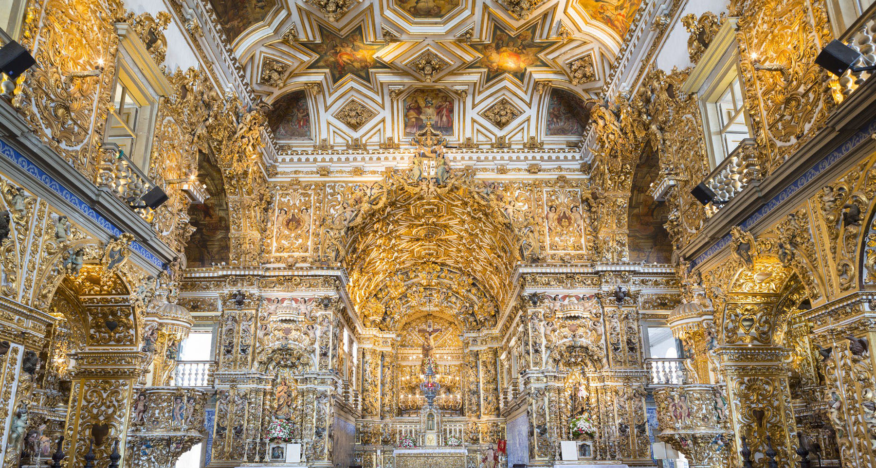 The ornate gold interior of the São Francisco Church and Convent in Salvador De Bahia