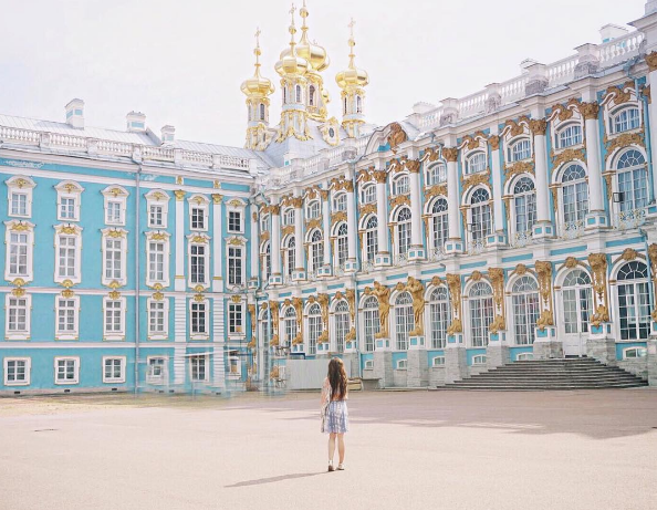 Nastasia visiting St. Petersburg with Azamara Club Cruises.