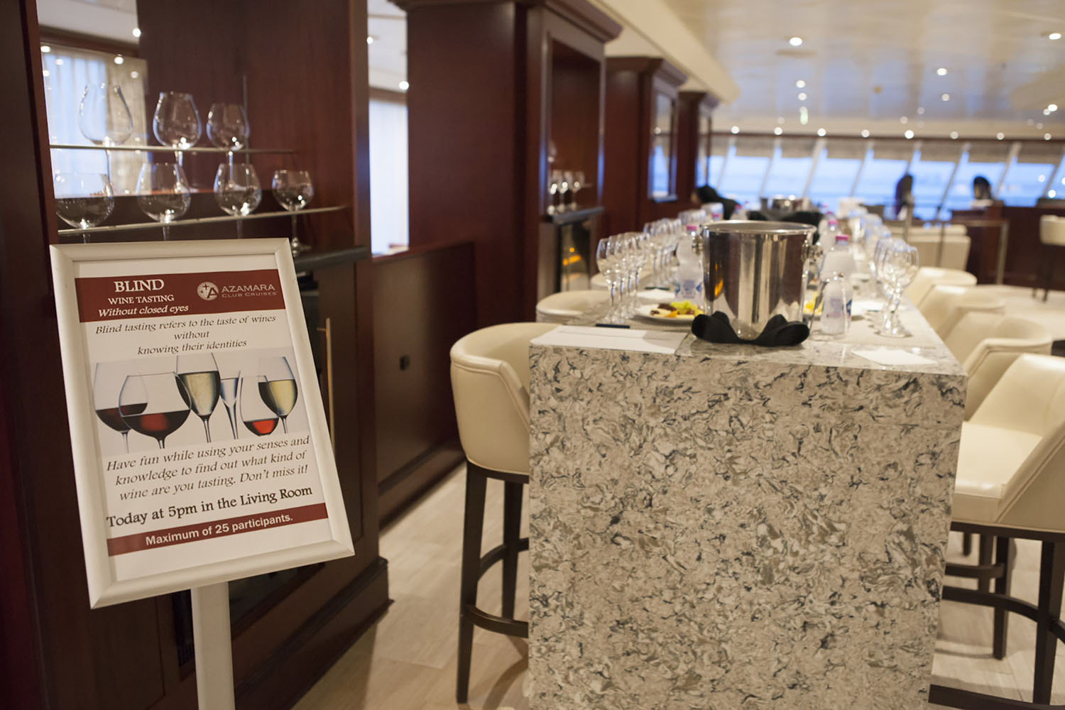 Wine tasting onboard with Azamara Club Cruises.