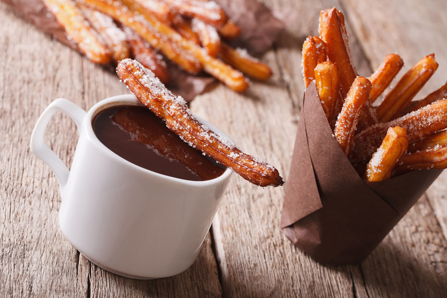 Cap off an evening out in Spain by enjoying some churros (fried pastries) with a mug of thick hot chocolate.