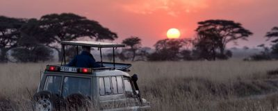 Watching the sunset on an African safari